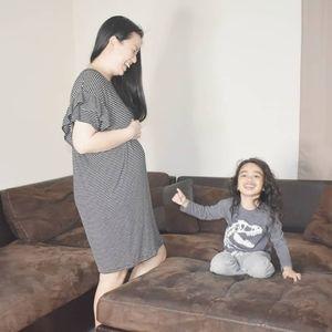 Gorgeous stripe maternity dress